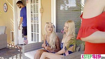 Блондинка и ее сестра подарили молодому сводному брату секс втроем
