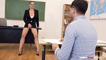 Teacher with big milkings lit student on a passionate fuck in the office