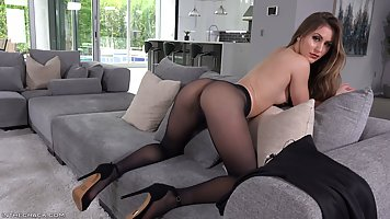 Girl in pantyhose shows real Masturbation and orgasm