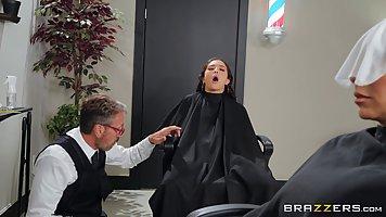 Brunette gets in the barbershop hair deep anal sex