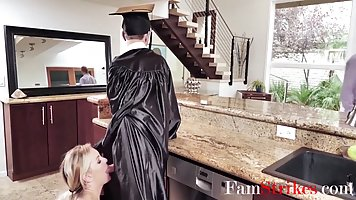Milf takes off her college graduate uniform and rubs a bump with tender holes