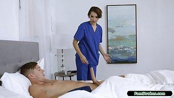 Uniformed Nurse Sucks Muscle Patient's Big Cock Nicely