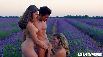 На лугу две грудастые девушки натирают длинный член спортсмена до спермы