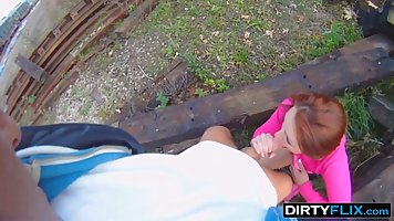 Redhead pov outdoors doggystyled with a young dude and cums