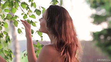 Russian girl near the birch shows juicy body and solo masturbation