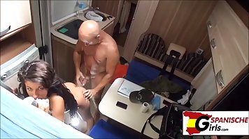 Brunette mommy with big milkings in the trailer lifted her legs up and fucked he...