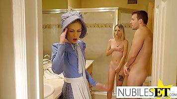 Блондинка с маленькими сиськами кончает во время хардкора с мужем сестры