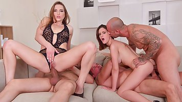 Sexy girls are happy to take part in group anal with men