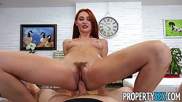 Redhead girl with hairy pussy doesnt give up hardcore with young partner