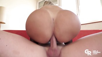 Big ass blonde lets bearded guy bring her to orgasm with anal