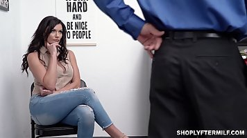 Brunette with big milkings spreads her legs for sex with a security guard