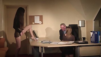 Two young secretaries in the office decided to give the old boss a real threesom...