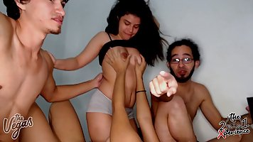 Young Latina with big milkings was ready to cum from home gangbang