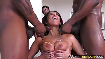 Mommy in stockings substitutes her ass for anal and double penetration with blac...