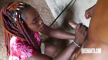 A mulatto right on the street substitutes juicy slits for sex with a black man i...