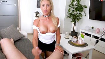 Blonde with big milkings decided not to give up sex in the first person