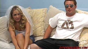 A blonde in uniform right on the couch cheats on her husband with a thick black ...